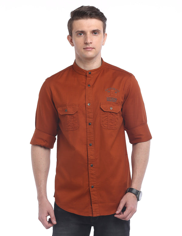 ADNOX Designer Plain Casual Twill Cotton Full Sleeve Shirt for Men (Orange Brown)