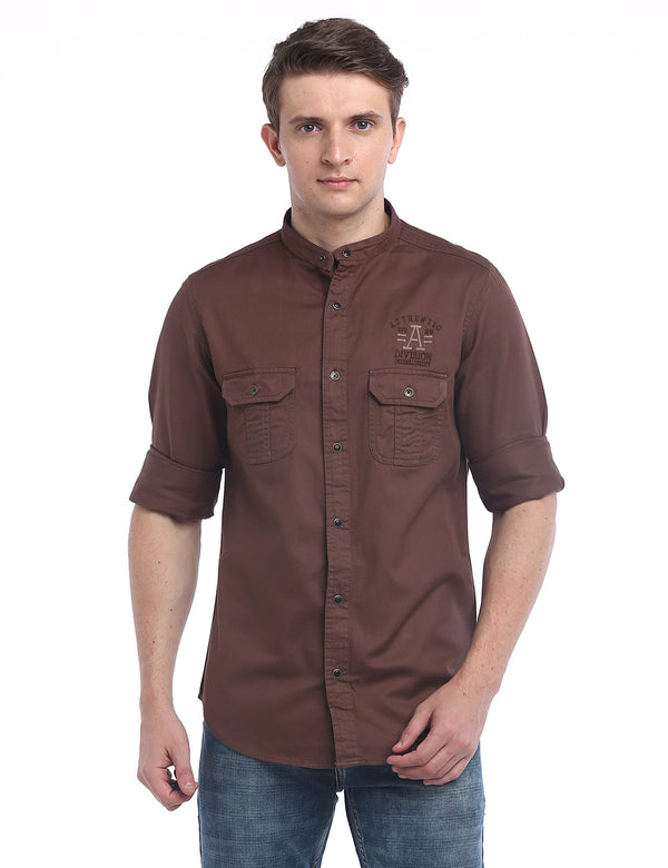 ADNOX Designer Plain Casual Twill Cotton Full Sleeve Shirt for Men (Dark Brown)