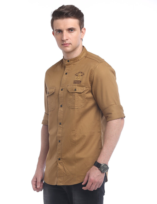 ADNOX Designer Plain Casual Twill Cotton Full Sleeve Shirt for Men (Khaki)