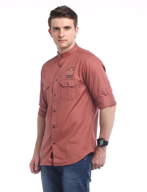 ADNOX Designer Plain Casual Twill Cotton Full Sleeve Shirt for Men (Persian Red)