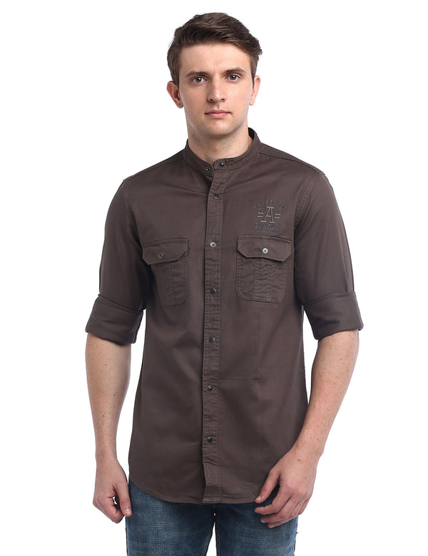 ADNOX Designer Plain Casual Twill Cotton Full Sleeve Shirt for Men (Walnut Brown)