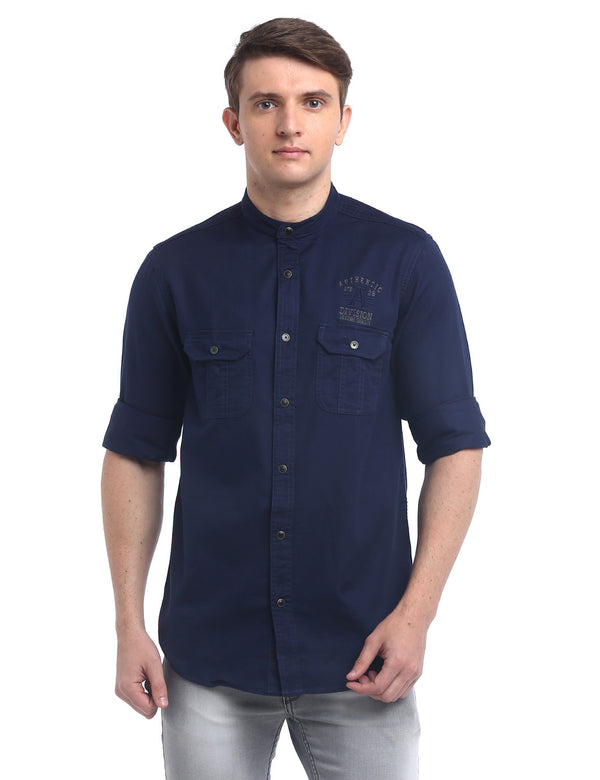 ADNOX Designer Plain Casual Twill Cotton Full Sleeve Shirt for Men (Navy Blue)