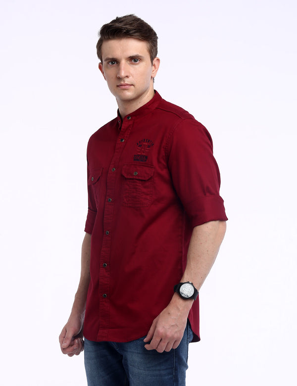 ADNOX Designer Plain Casual Twill Cotton Full Sleeve Shirt for Men (Wine Red)