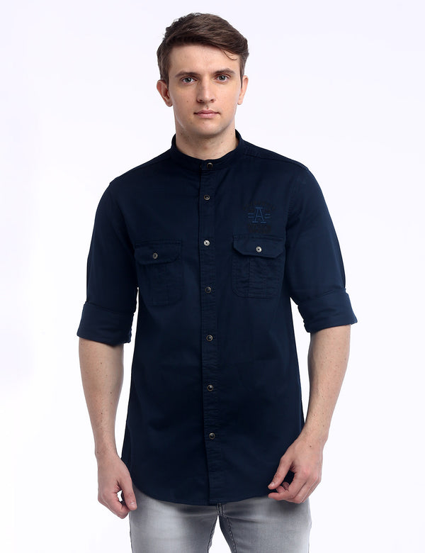 ADNOX Designer Plain Casual Twill Cotton Full Sleeve Shirt for Men (Dark Navy)