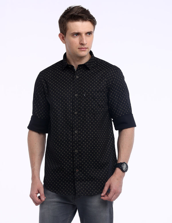 ADNOX Men's Printed Maty Cotton Full Sleeve Slim Fit Casual Shirt (Black)