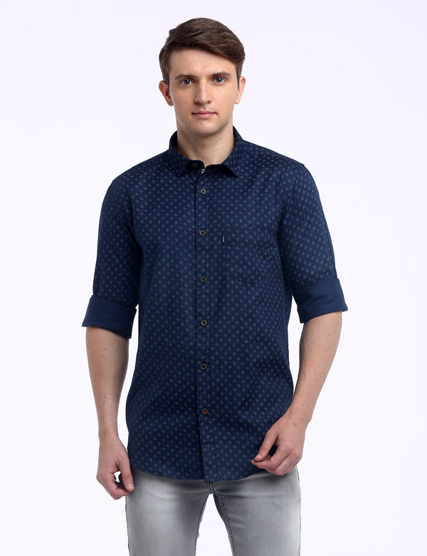 ADNOX Men's Printed Maty Cotton Full Sleeve Slim Fit Casual Shirt (Blue)