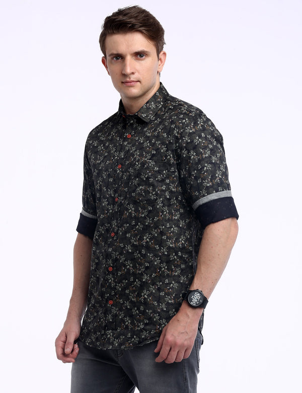 ADNOX Men's Floral Printed 60's Cotton Full Sleeve Slim Casual Shirt (Army Green)