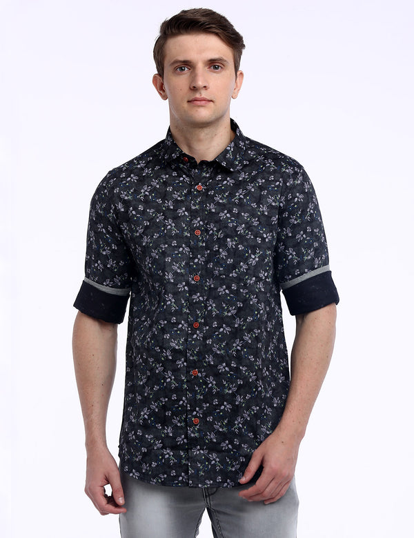 ADNOX Men's Floral Printed 60's Cotton Full Sleeve Slim Casual Shirt (Bluish Grey)