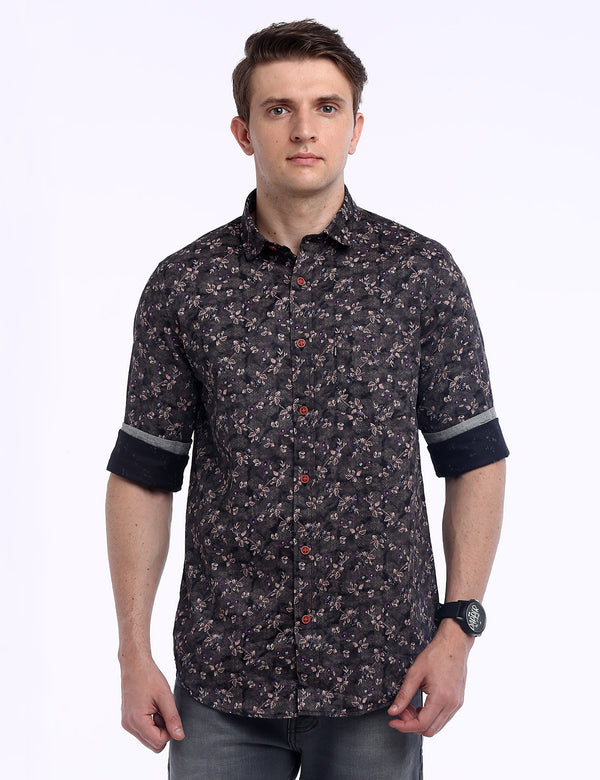 ADNOX Men's Floral Printed 60's Cotton Full Sleeve Slim Shirt (Light Reddish Brown)
