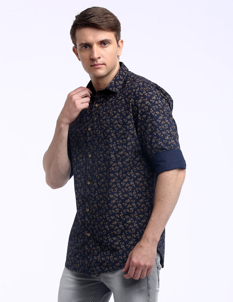 ADNOX Men's Printed Lafer Cotton Full Sleeve Slim Fit Shirt (Navy Blue)