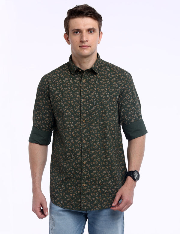 ADNOX Men's Printed Lafer Cotton Full Sleeve Slim Fit Shirt (Crocodile Green)