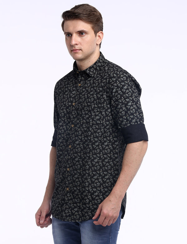ADNOX Men's Printed Lafer Cotton Full Sleeve Slim Fit Shirt (Black)