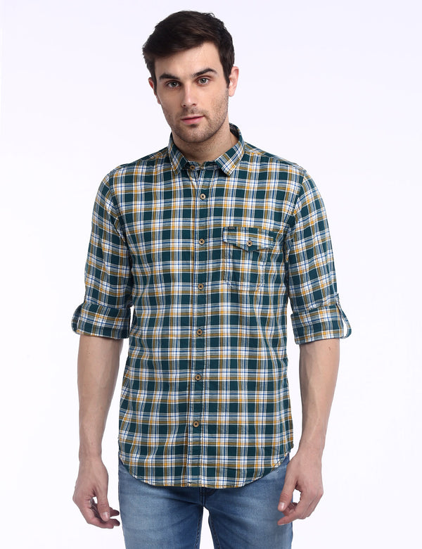 ADNOX Men's Checkered Twill Cotton Full Sleeve Slim Casual Shirt (Green)