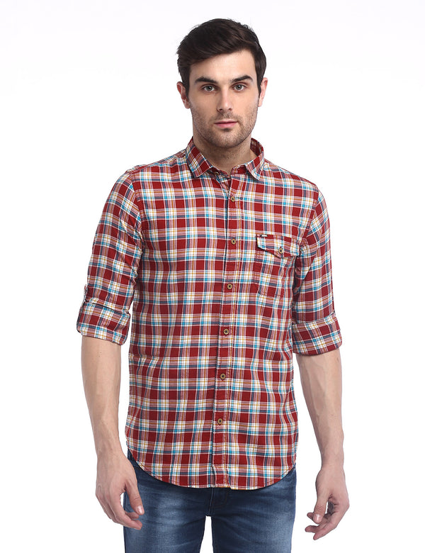 ADNOX Men's Checkered Twill Cotton Full Sleeve Slim Casual Shirt (Red)