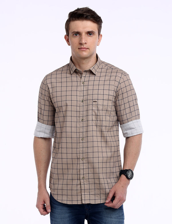 ADNOX Men's Box Checkered Lafer Cotton Full Sleeve Casual Shirt (Light Khaki)