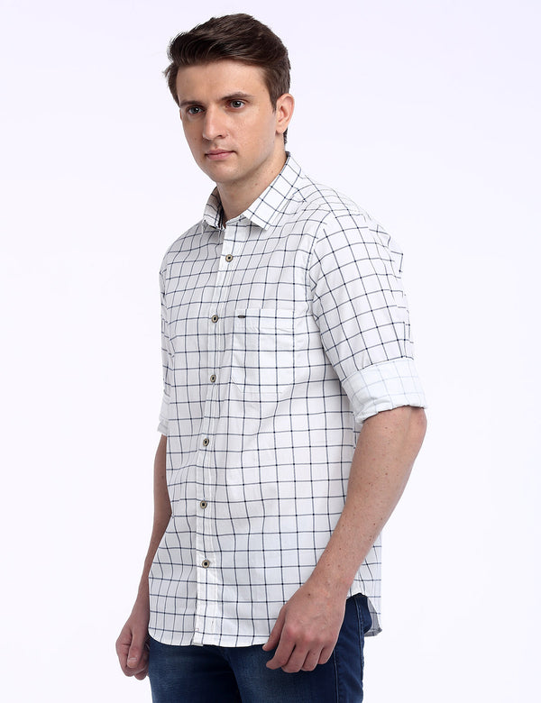 ADNOX Men's Box Checkered Lafer Cotton Full Sleeve Slim Casual Shirt (White)