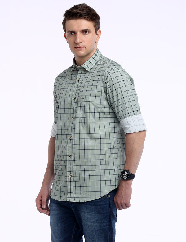 ADNOX Men's Box Checkered Lafer Cotton Full Sleeve Casual Shirt (Pastel Green)