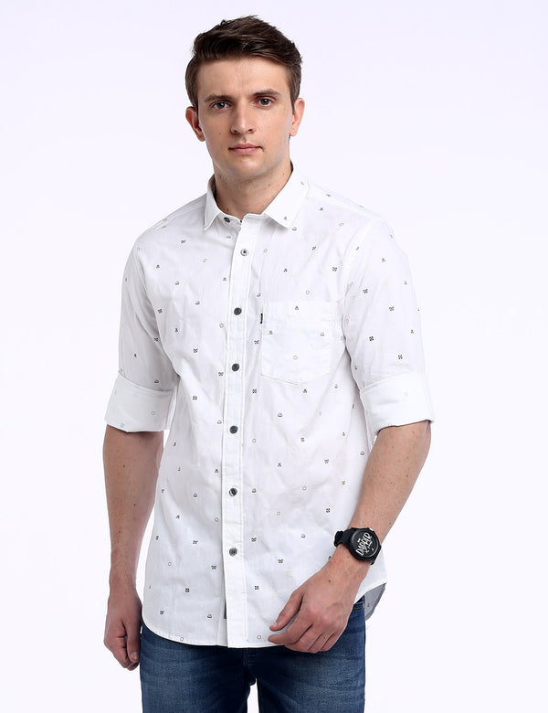ADNOX Men's Printed Dobby Cotton Full Sleeve Slim Casual Shirt (White)