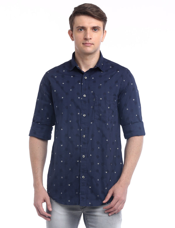 ADNOX Men's Printed Dobby Cotton Full Sleeve Slim Casual Shirt (Navy Blue)