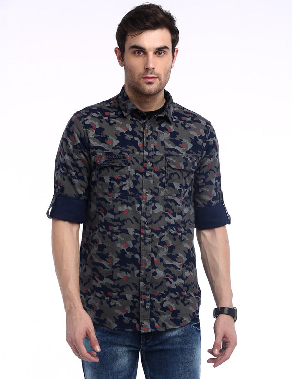ADNOX Men's Camouflage Cotton Full Sleeve Slim Casual Shirt (Navy Blue & Grey)
