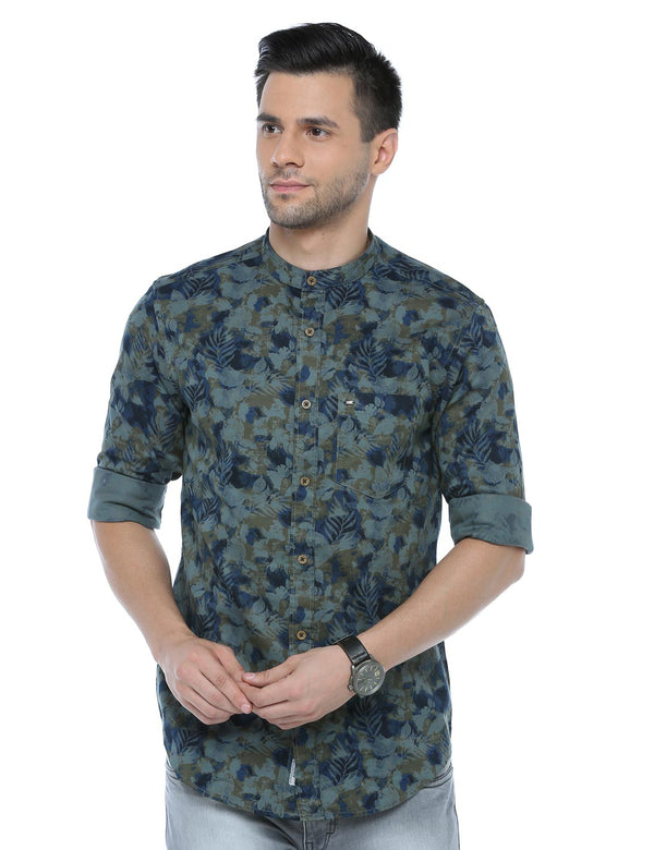 ADNOX Men's Printed Casual Full Sleeve Cotton Slim Fit Shirt (Green)