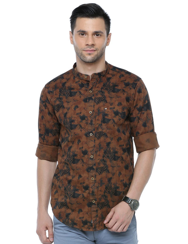 ADNOX Men's Printed Casual Full Sleeve Cotton Slim Fit Shirt (Brown)