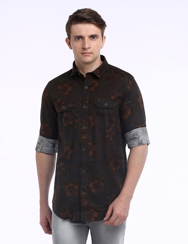 ADNOX Men's Floral Printed Twill Cotton Full Sleeve Casual Shirt (Army Green)