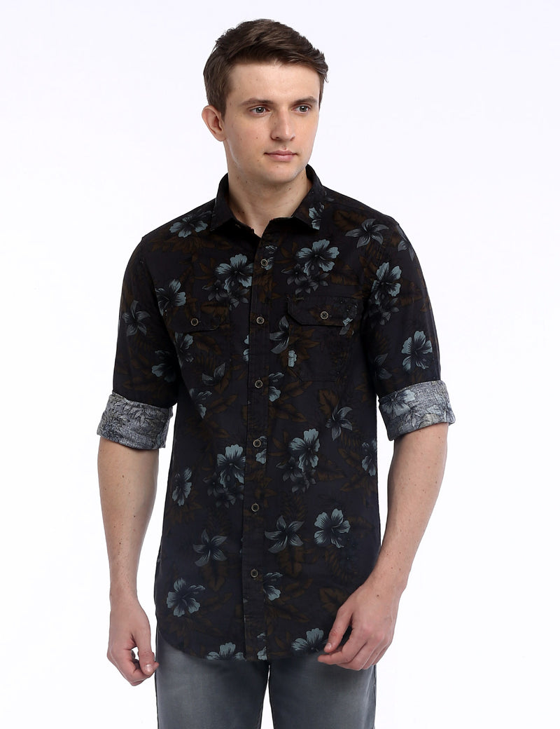 ADNOX Men's Floral Printed Twill Cotton Full Sleeve Casual Shirt (Grey)