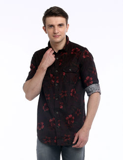 ADNOX Men's Floral Printed Twill Cotton Full Sleeve Shirt (Coffee Brown)