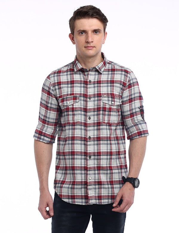 ADNOX Men's Checkered Dobby Cotton Full Sleeve Slim Casual Shirt (Red in White)