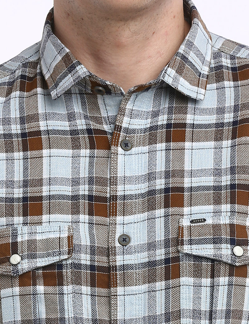 ADNOX Men's Checkered Dobby Cotton Full Sleeve Slim Casual Shirt (Brown in White)