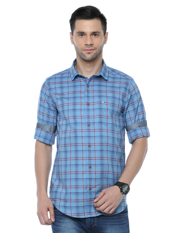 ADNOX Checkered Casual Full Sleeve Cotton Slim Fit Shirt for Men