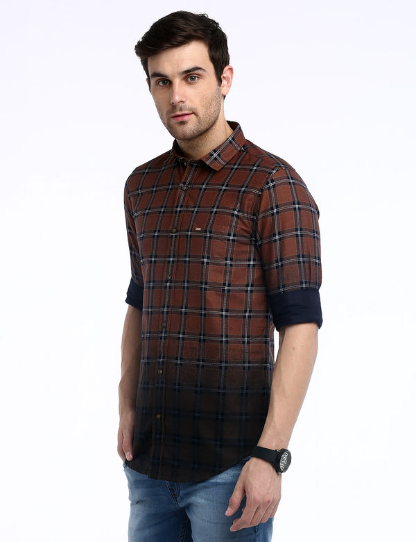 ADNOX Men's Checkered Designer Twill Cotton Full Sleeve Slim Casual Shirt (Brown)