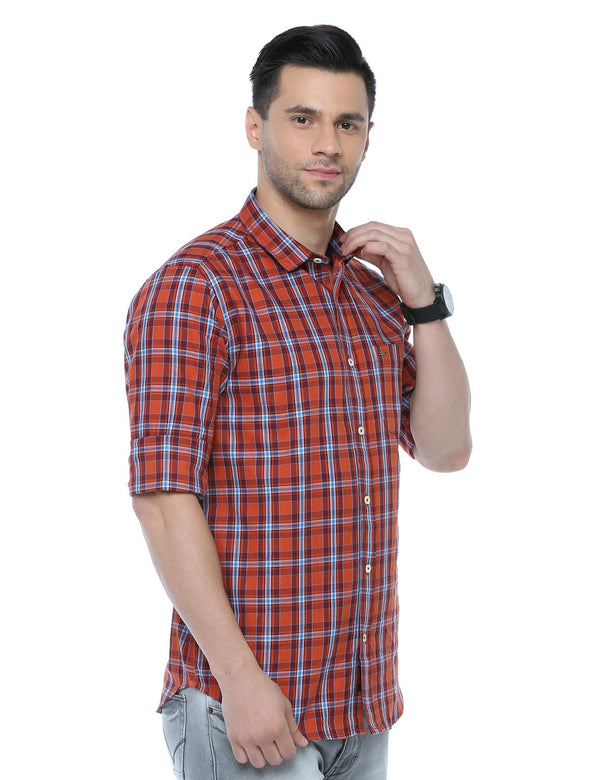 ADNOX Checkered Full Sleeve Casual Cotton Slim Fit Shirt for Men