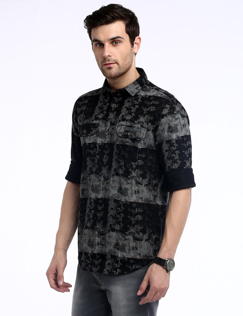 ADNOX Fancy Printed Dobby Cotton Full Sleeve Casual Shirt for Men (Grey)