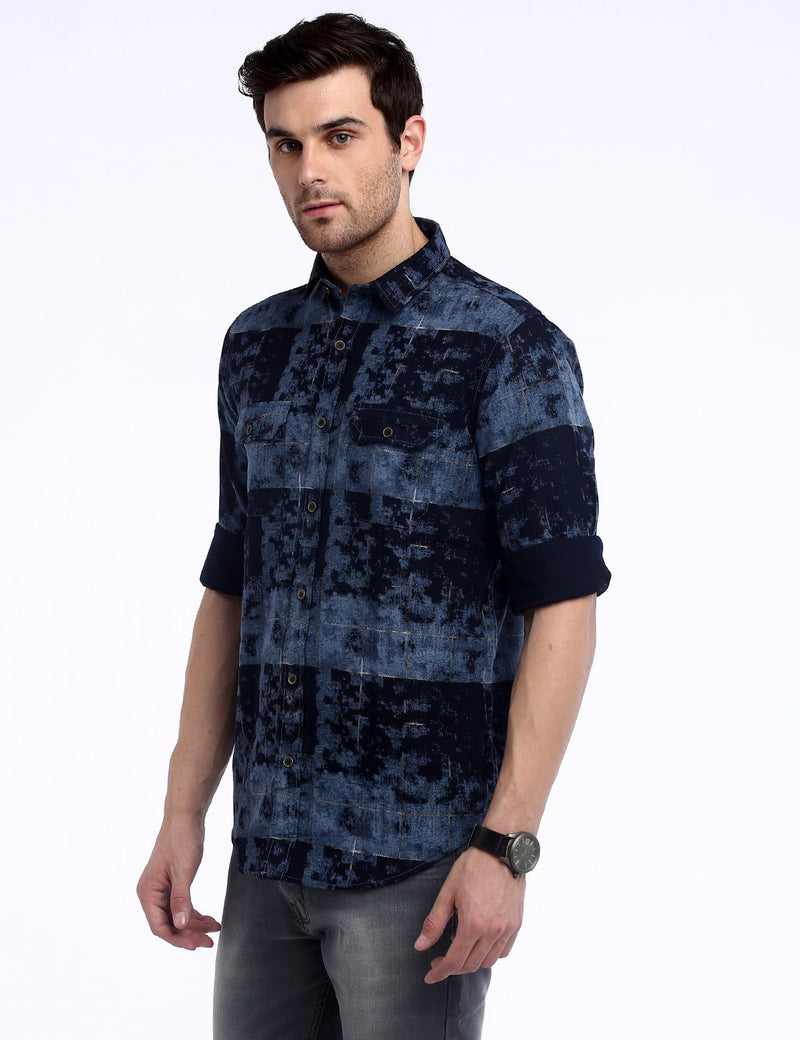 ADNOX Fancy Printed Dobby Cotton Full Sleeve Casual Shirt for Men (Blue)