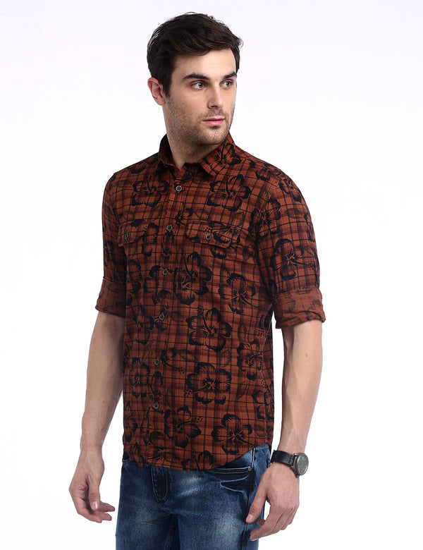 ADNOX Men's Printed Checks Cotton Full Sleeve Slim Casual Shirt (Rust Brown)
