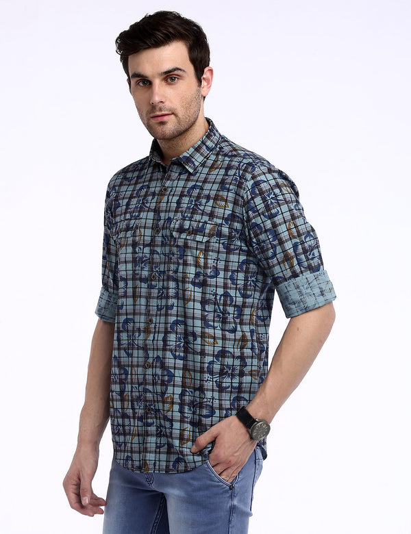 ADNOX Men's Printed Checks Cotton Full Sleeve Slim Casual Shirt (Bluish Green)