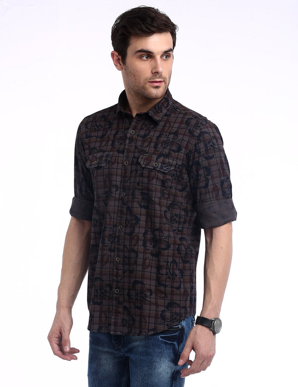 ADNOX Men's Printed Checks 60's Cotton Full Sleeve Slim Casual Shirt (Coffee Brown)