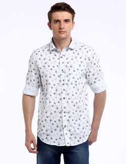 ADNOX Men's Floral Printed Dobby Cotton Full Sleeve Slim Casual Shirt (White)
