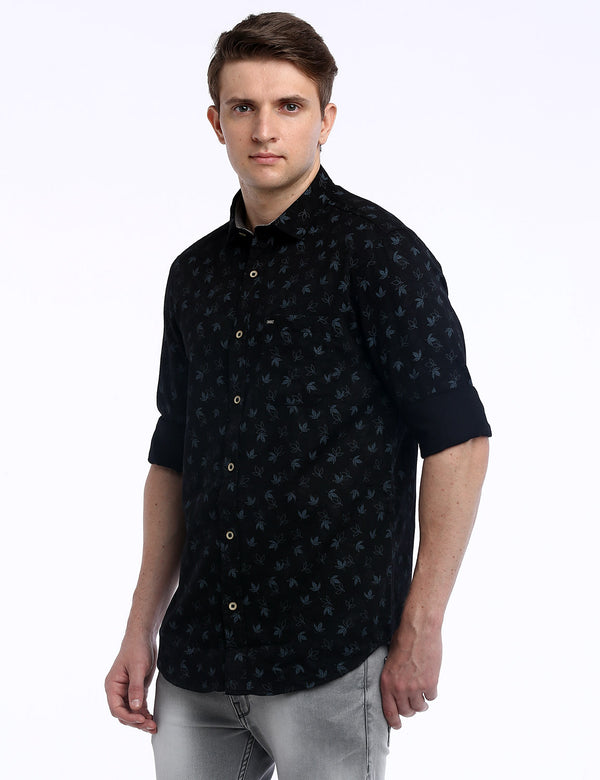 ADNOX Men's Floral Printed Dobby Cotton Full Sleeve Slim Casual Shirt (Black)