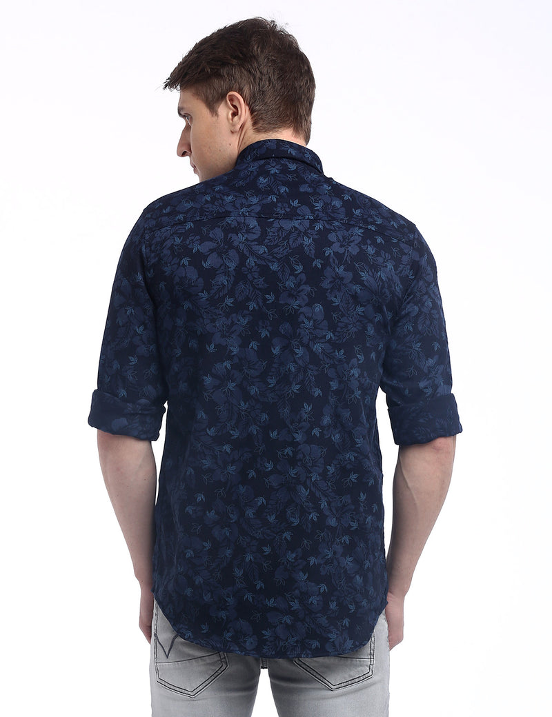 ADNOX Men's Floral Printed Dobby Cotton Full Sleeve Slim Casual Shirt (Navy Blue)