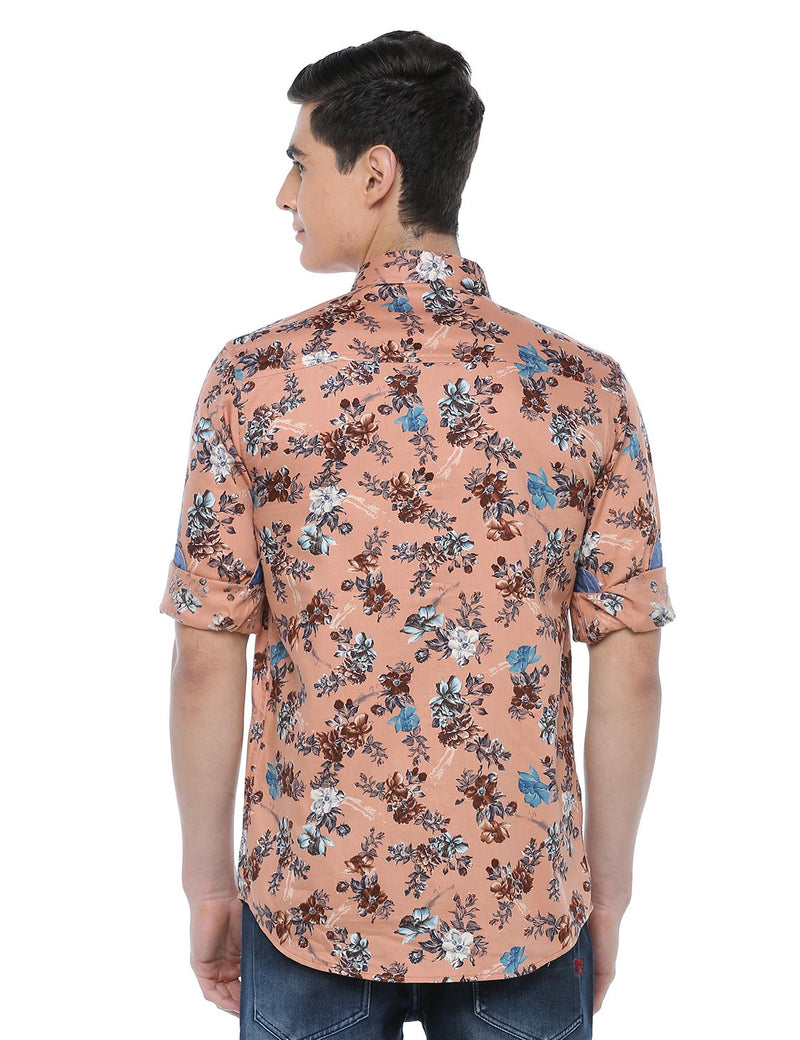 ADNOX Men's Floral Printed Full Sleeve Cotton Slim Fit Shirt (Peach)