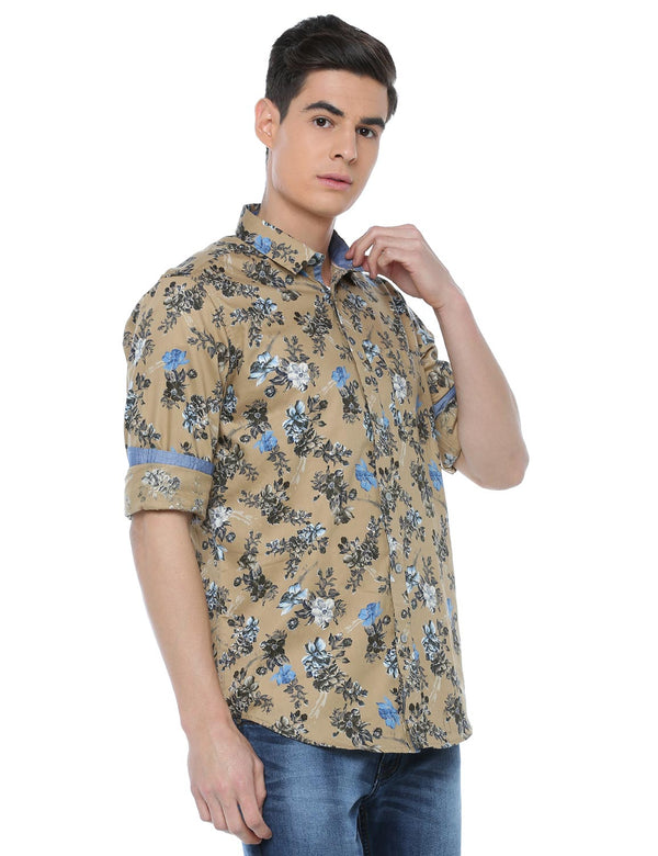 ADNOX Men's Floral Printed Full Sleeve Cotton Slim Fit Shirt (Khaki)