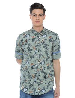 ADNOX Men's Floral Printed Full Sleeve Cotton Slim Fit Shirt (Olive Green)