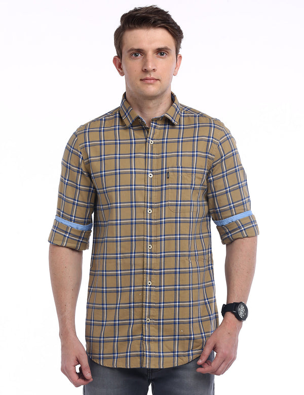 ADNOX Checkered Twill Cotton Full Sleeve Slim Fit Shirt for Men (Khaki)