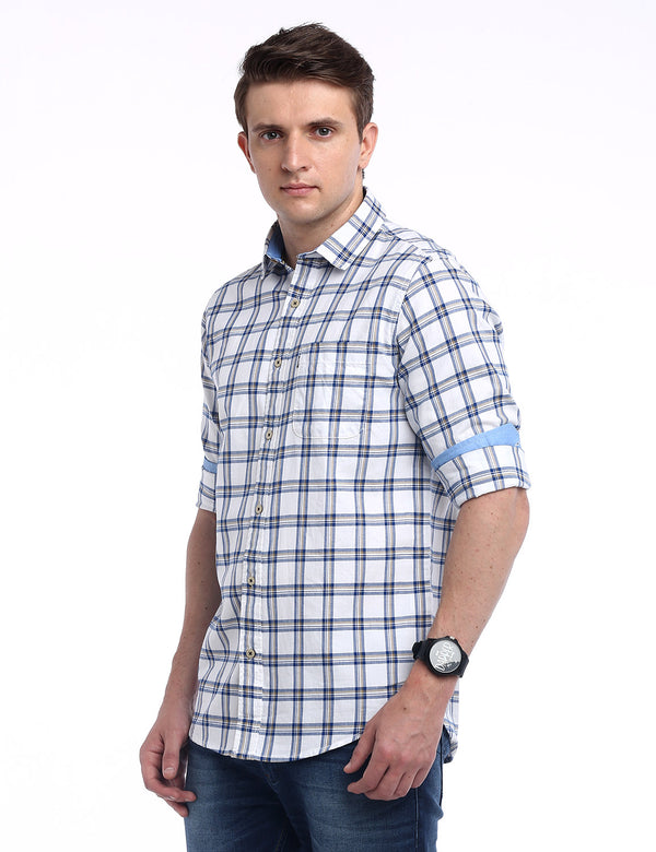 ADNOX Checkered Twill Cotton Full Sleeve Slim Fit Shirt for Men (White)