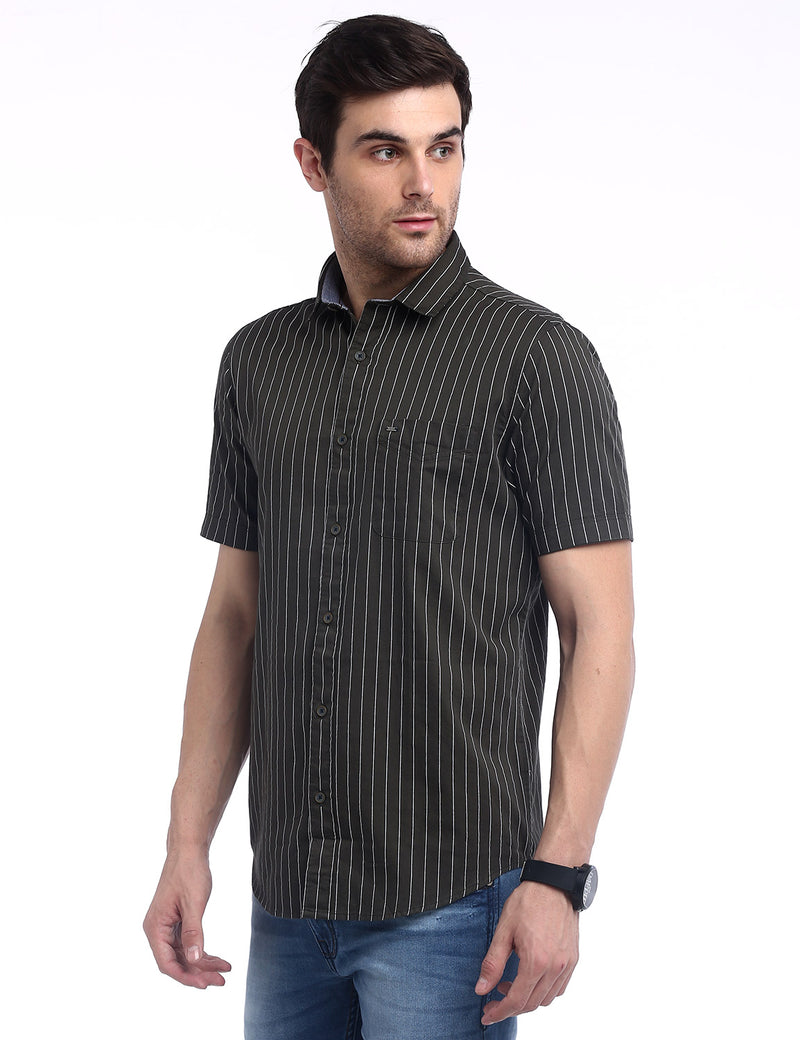 ADNOX Men's Vertical Striped Fine Twill Cotton Half Sleeve Slim Shirt (Army Green)