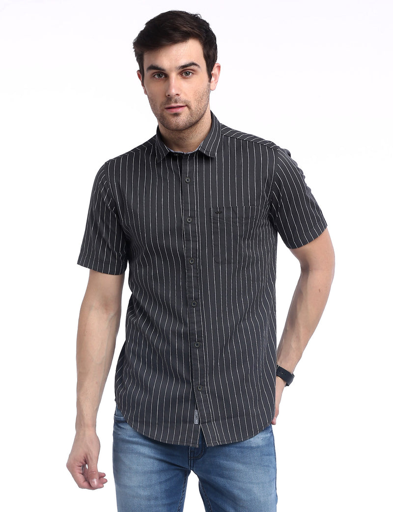 ADNOX Men's Vertical Striped Fine Twill Cotton Half Sleeve Slim Shirt (Grey)