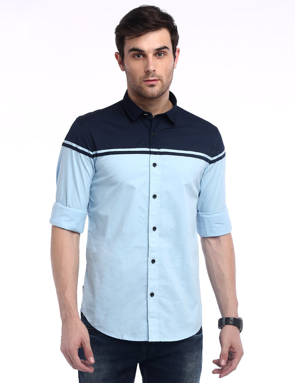 ADNOX Designer Plain Casual Fine Twill Cotton Shirt for Men (Sky Blue)